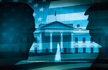 Two presidents in front of white house election